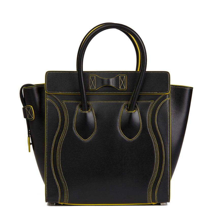 6f79d56886a2 Celine Smooth Calfskin Black Leather Debossed Micro Luggage Tote. 35.  12345678910