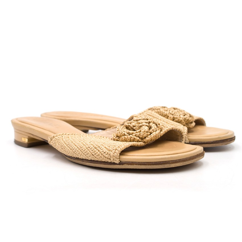 Chanel Nude Woven Straw Mules