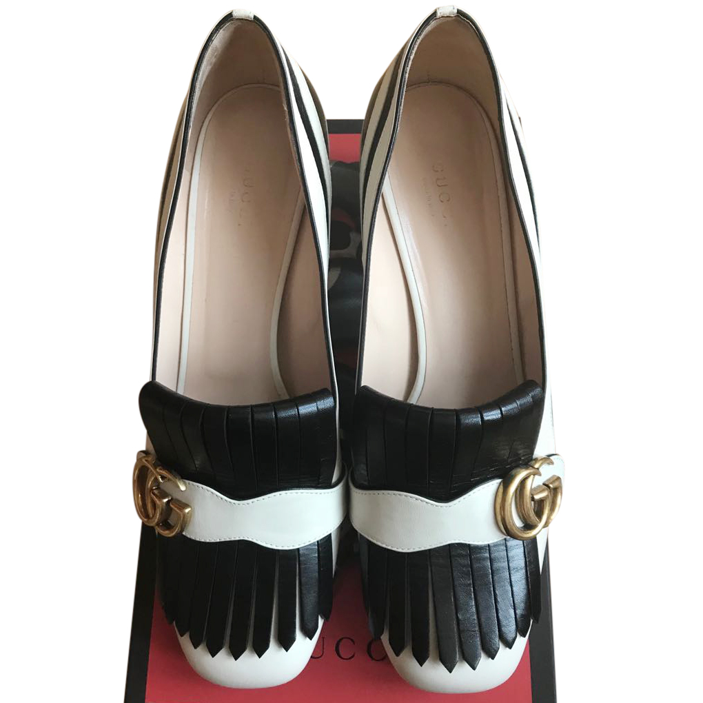 6d1667476 Gucci Marmont Zebra Mid Heel Loafers | HEWI London