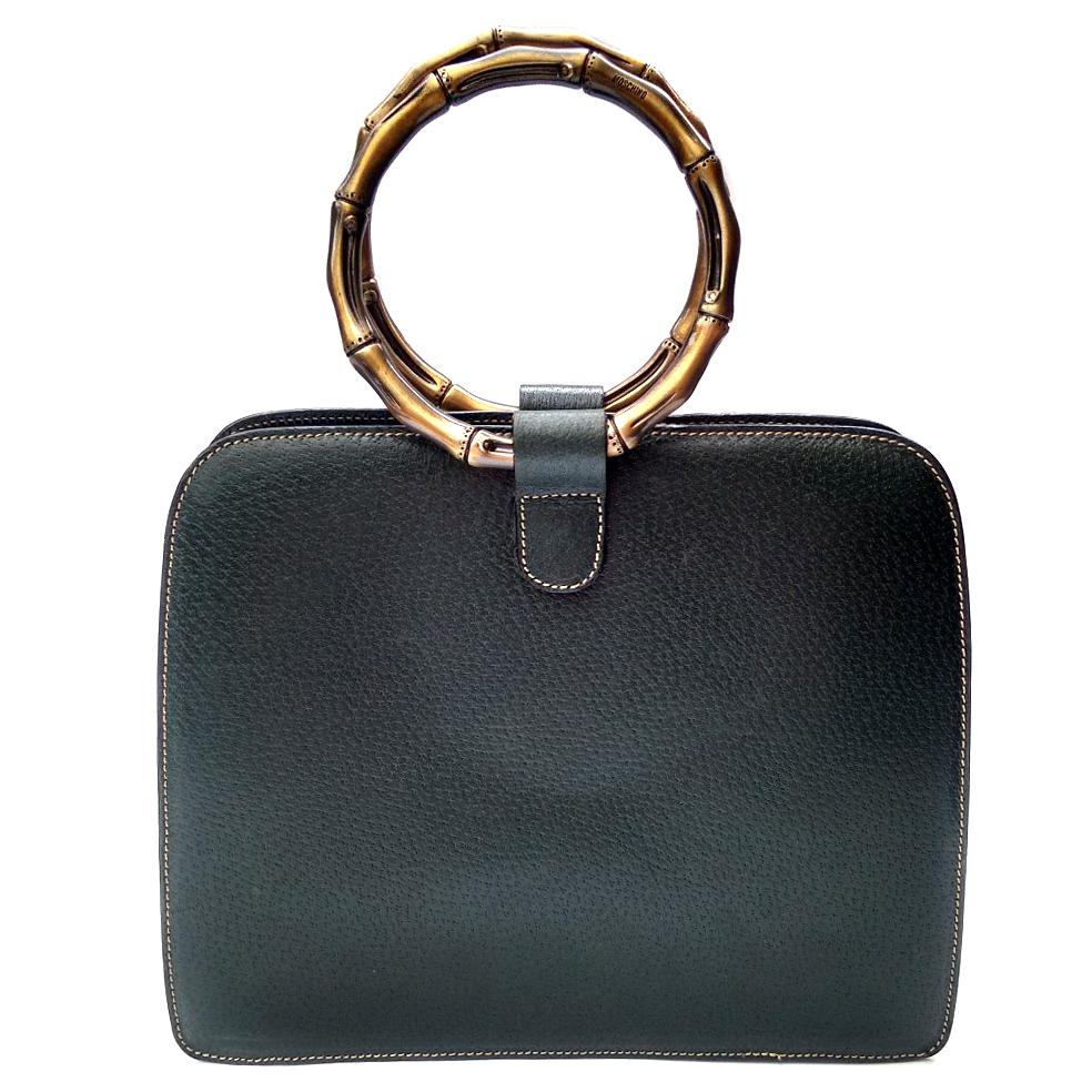 46bd0f79aca Moschino By Redwall Vintage Dark Green Leather Bag | HEWI London