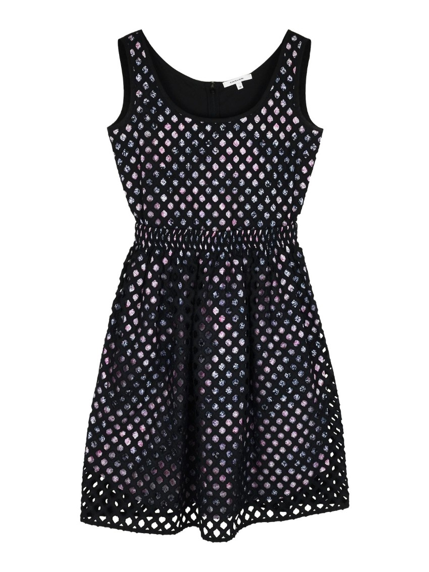 Carven Floral Lined Mesh Knit Dress