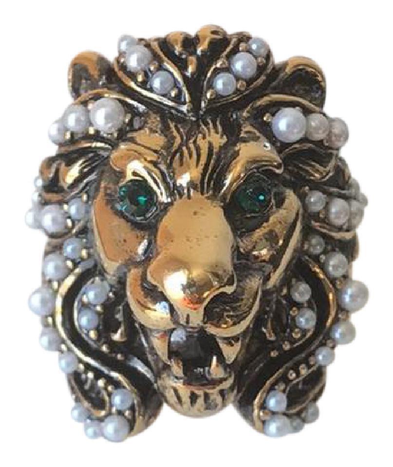 abd5863eeca Gucci Crystal   Pearl Lion Head Ring