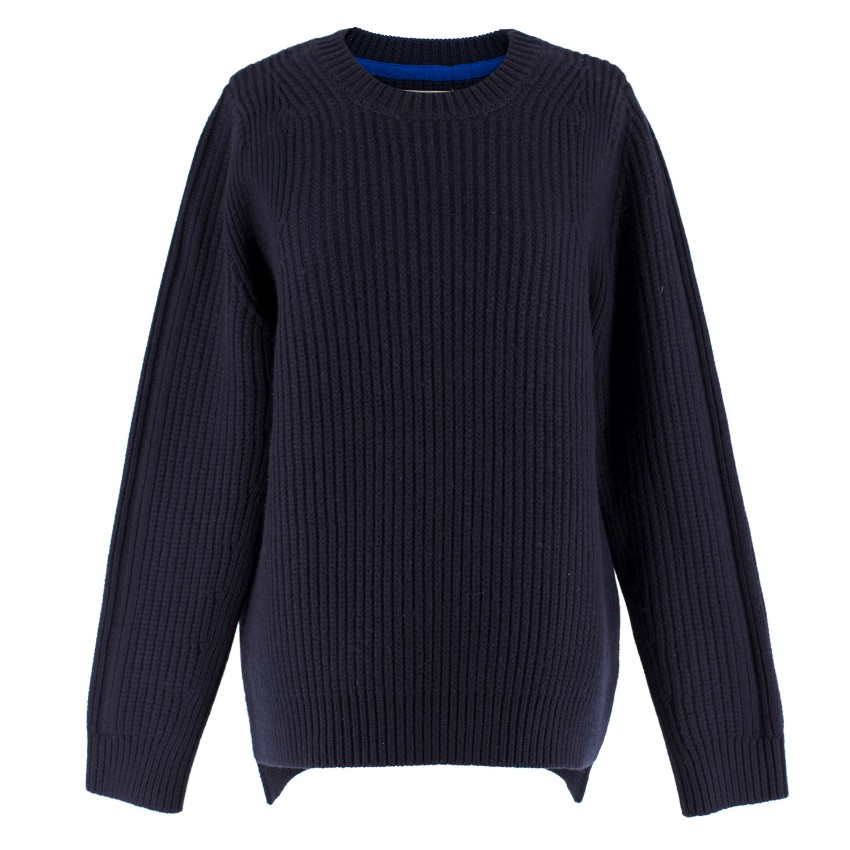 Tory Sport Navy Ribbed Wool Sweater