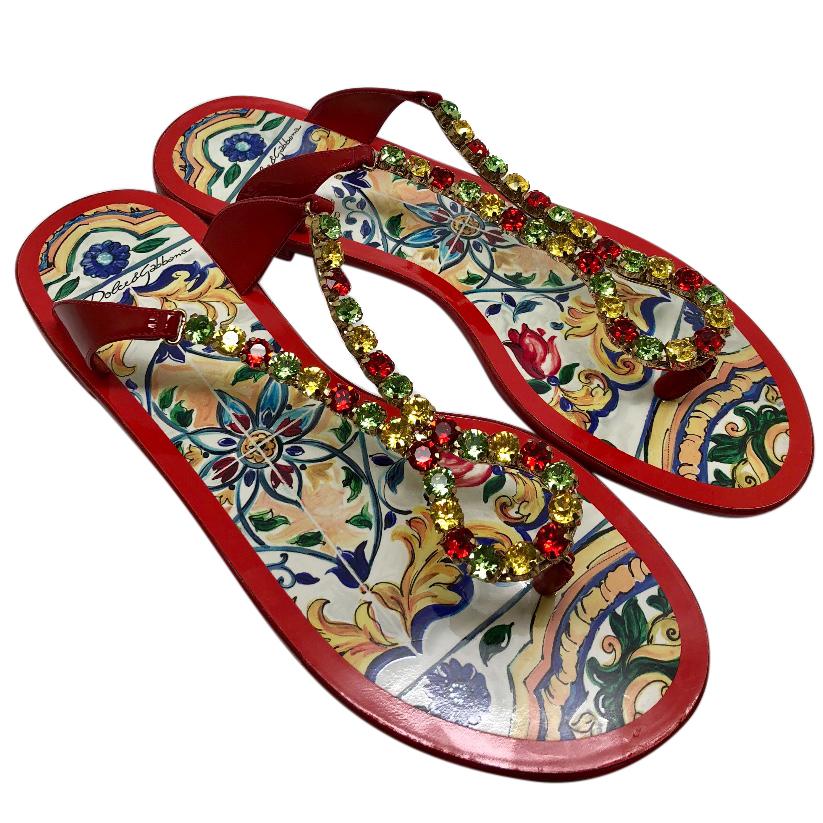46a1b9e4476d Dolce Gabbana Red Crystal Flip Flops