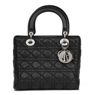 Christian Dior Black Quilted Lambskin Lady Dior MM Bag