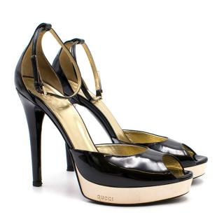 Gucci Black and Gold Platform Sandals