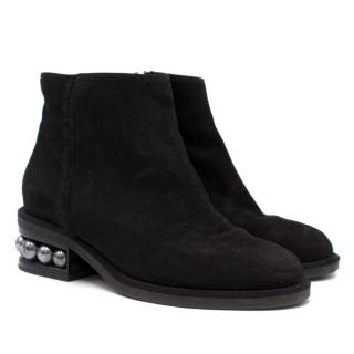 Black Casati Pearl Suede Ankle Boots