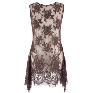 Ermanno Scervino Sheer Brown Lace Mini Dress