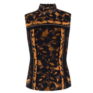 Prada Sleeveless High Neck Printed Top