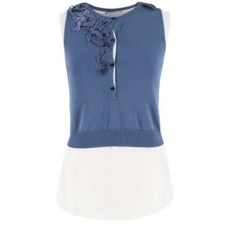 Ermanno Scervino Blue and White Sleeveless Top