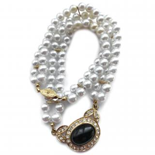 Pierre Cardin Faux Pearl and Crystal Necklace