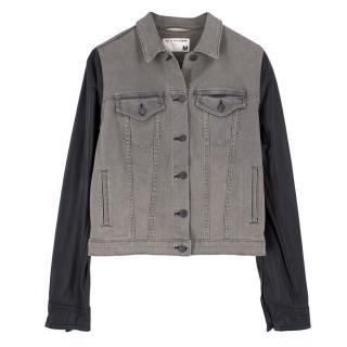 7c7736bf8351 Rag   Bone Leather Sleeved Denim Jacket