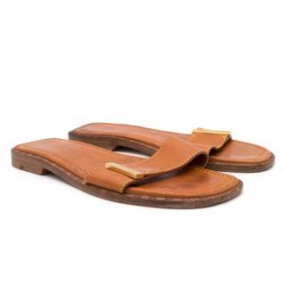 Louis Vuitton Leather Tan Sandals
