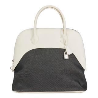 Hermes White Swift Leather & Black Denim Bolide 35cm Bag