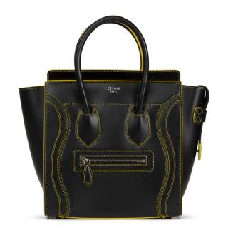 Celine Smooth Calfskin Black Leather Debossed Micro Luggage Tote