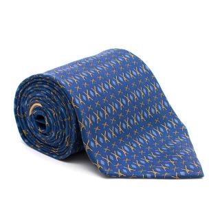 Salvatore Ferragamo Blue Printed Silk Tie