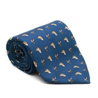 Caesar Blue Duck Printed Silk Tie