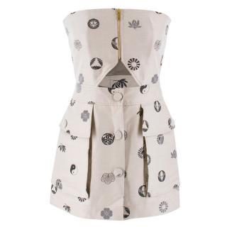 Stella McCartney Cutout Printed Strapless Mini Dress