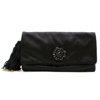 Lanvin Satin Crystal Embellished Clutch