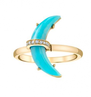 Andrea Fohrman Small Carved Crescent Moon Ring