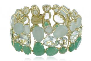 Vianna Brasil18K Gold,Aquamarine,mint quartz,praziolite,diamonds cuff