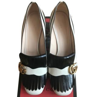 Gucci Marmont Zebra Mid Heel Loafers