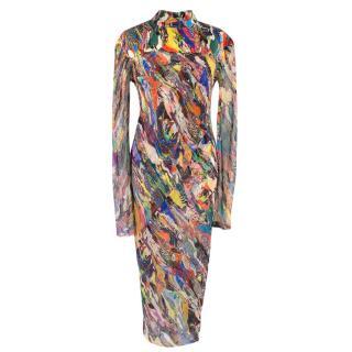 Dries Van Noten Sheer Silk Printed Dress