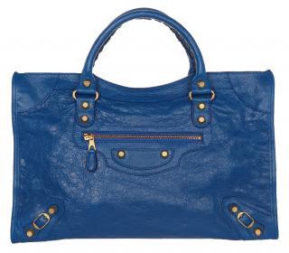 Balenciaga Gold Bleu lazuli Classic City Bag