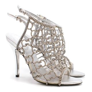 Gucci Silver GG Caged Sandals