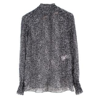 Michael Kors Sheer Printed Silk Top
