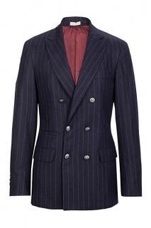 Brunello Cucinelli navy wool-cashmere blazer jacket sport coat