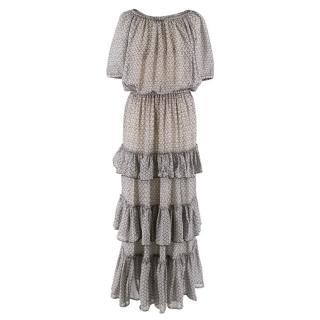 Isabel Marant Silk Grey Ruffled Dress
