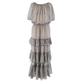 Isabel Marant Silk Grey Ruffled Dress