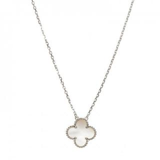 Van Cleef and Arpels White Gold and mother of Pearl Alhambra necklace