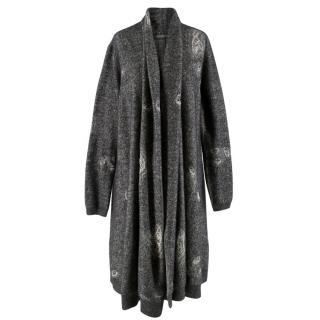 Alexander McQueen Distressed Wool Grey Cardigan