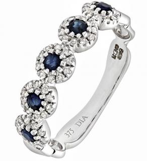 Naava Sapphire & Diamond White Gold Pave Ring