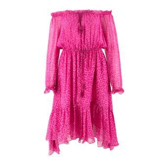 Diane von Furstenberg Printed Silk Bardot Dress