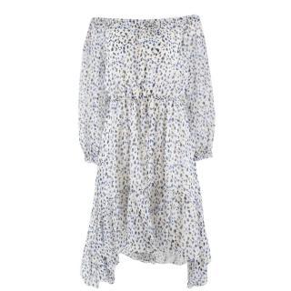Diane von Furstenberg Bardot Ruffle Silk Dress