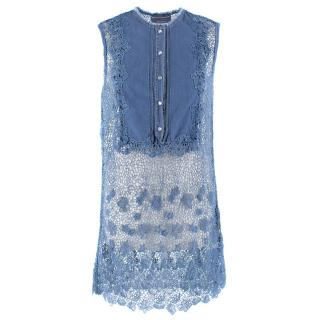 Ermanno Scervino Denim and Lace Beach Cover-Up