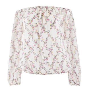 Diane Von Furstenberg Floral Silk Bardot Top