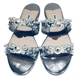 Miu Miu pearl embellished slides