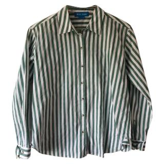 M.i.H Green & White Stripe Cotton Shirt