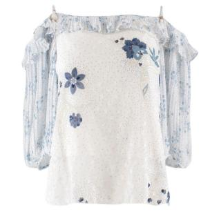 See By Chloe Printed Off Shoulder Top