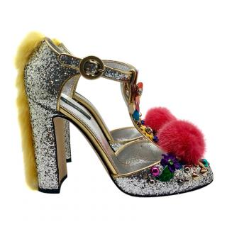 Dolce & Gabbana Mary Jane Sequin Pom Pom Sandals
