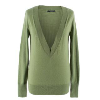 Alexander McQueen Green Deep V Neck Knit Top