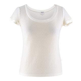 Armani Collezioni White Textured Top