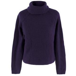 360 Cashmere Purple Cropped Sweater
