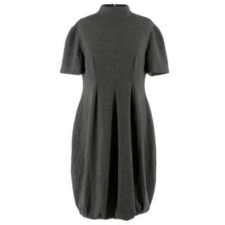 Alexander McQueen Grey Wool Blend High Neck Dress