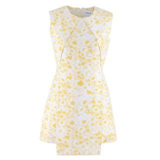 Alexander Lewis White and Yellow Paneled Mini Dress