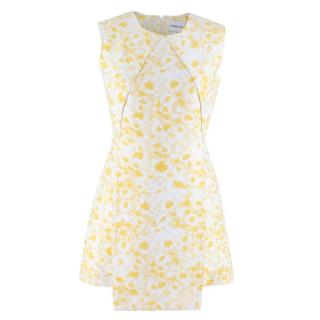 Alexander Lewis White and Yellow Paneled Mini Dress